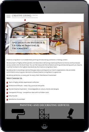Creative Living Decor Website On IPad