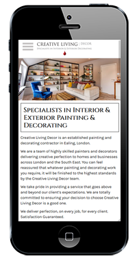 Creative Living Decor Website On IPhone