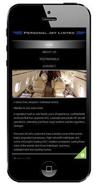 Personal Jet Website On IPhone