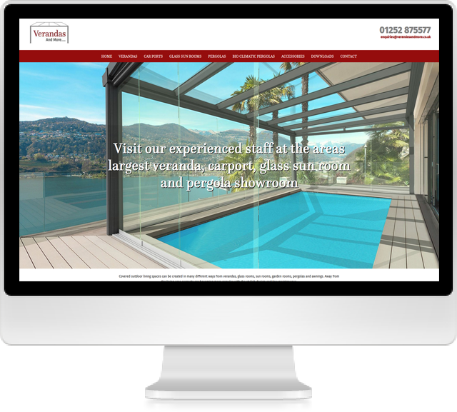verandas and more website on desktop